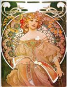 Vintage Art Deco Poster Woman with flowers in her hair